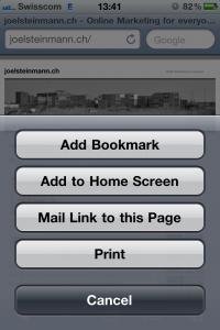 Bookmark hinzufügen für iPhone/iPad/iPod