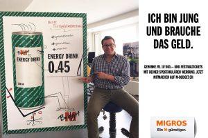 m-Budget Kampagne gesund Sitzen